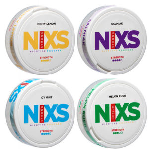 Högsta kvalitet, spännande smaker och bästa pris direkt från tillverkaren. Njut av nikotin men slipp helt tobaken med Nixs all white snus. Dessa 100% tobaksfria nikotinpåsar är det moderna sättet att snusa, och ett enklare sätt att sluta röka. De helvita portionerna finns i flera olika smaker och nikotinstyrkor. All white snus (kallas också ibland Pure white eller Super white) kan du använda i alla sammanhang; i bilen, på kontoret, restaurangen etc. Du stör ingen med rök eller tobakslukt. Nikotinpåsar är det nya sättet att snusa när du vill slippa tobak men ändå vill njuta av nikotin. Med Nixs all white får du högsta kvalitet till bästa pris direkt från tillverkaren. nixs melon rush, icy mint, nixs salmiak, nixs minty lemon