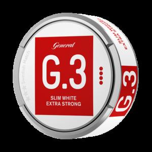 Om produkten General G.3 Extra Strong Slim White Portionssnus General G.3 Extra Strong Slim White har en optimeradpassform, högnikotinhalt och portioner som räckerlänge och väl för den gemene snusaren. I grunden ligger Johan A Bomans klassiska recept som förser smaken med sin välbekanta pepprighet och inslag av citrus. Se alla General här Fakta om produkten Varumärke G.3 Produkttyp White portion Styrka Extra Starkt Nikotinhalt 18 mg/g Innehåll/förpackning 16,6 g Snustyp Slim White Portion Format Slim Producent Swedish Match, snushandel i nyköping ab sverige svenskt snus swedish snus snuff, påljungshage köpcentrum öppettider, tobak, snusbutiken snusbutik